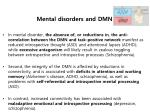 mental disorders and dmn