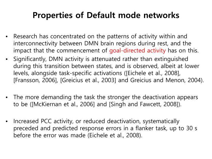 Properties of Default mode networks