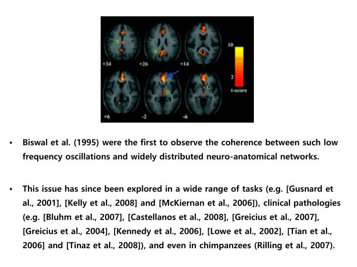 Biswal et al. (1995) were the first to observe the coherence between such low frequency oscillations and widely distributed neuro-anatomical networks.