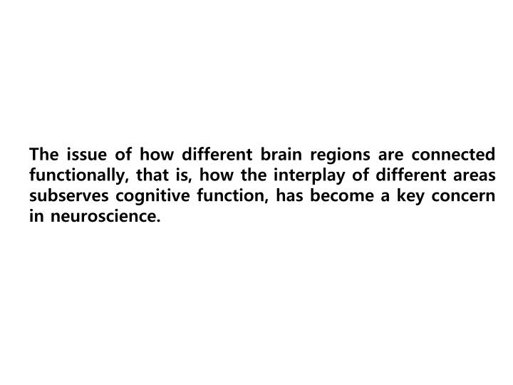 The issue of how different brain regions are connected functionally, that is, how the interplay of different areas subserves cognitive function, has become a key concern in neuroscience.