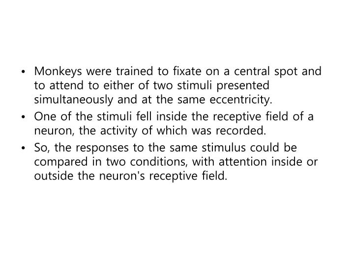 Monkeys were trained to fixate on a central spot and to attend to either of two stimuli presented simultaneously and at the same eccentricity.