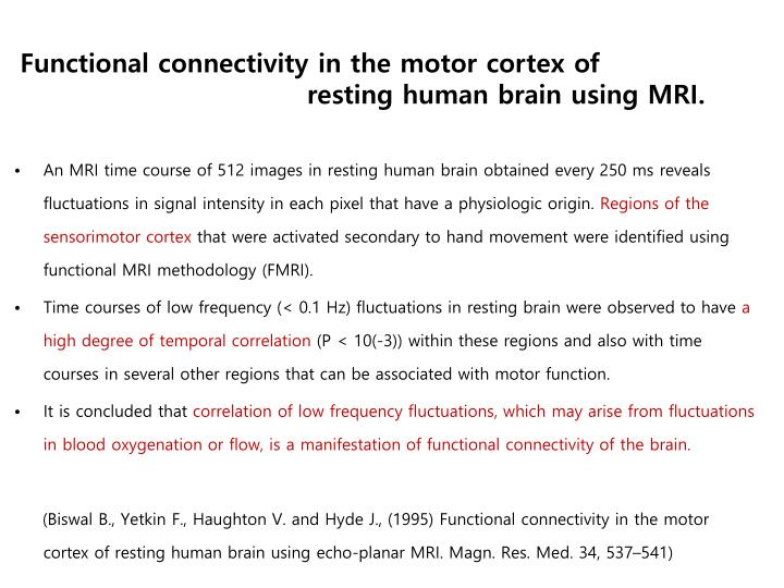 Functional connectivity in the motor cortex of