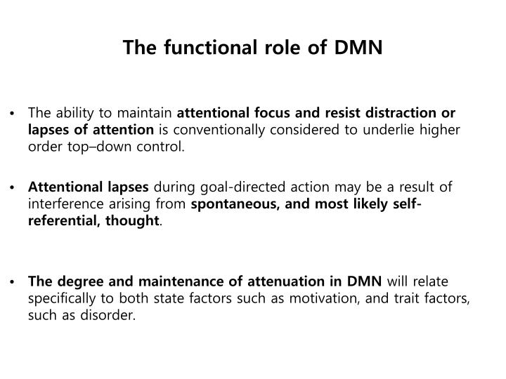 The functional role of DMN
