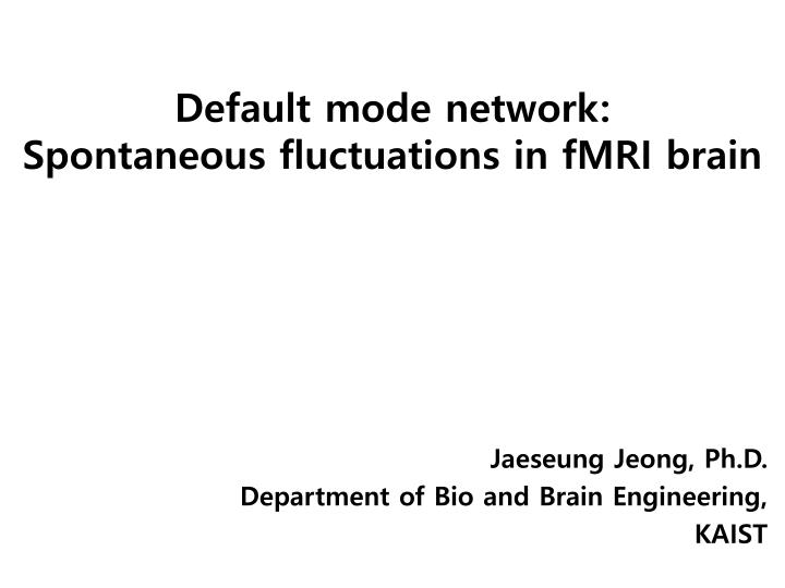 default mode network spontaneous fluctuations in fmri brain