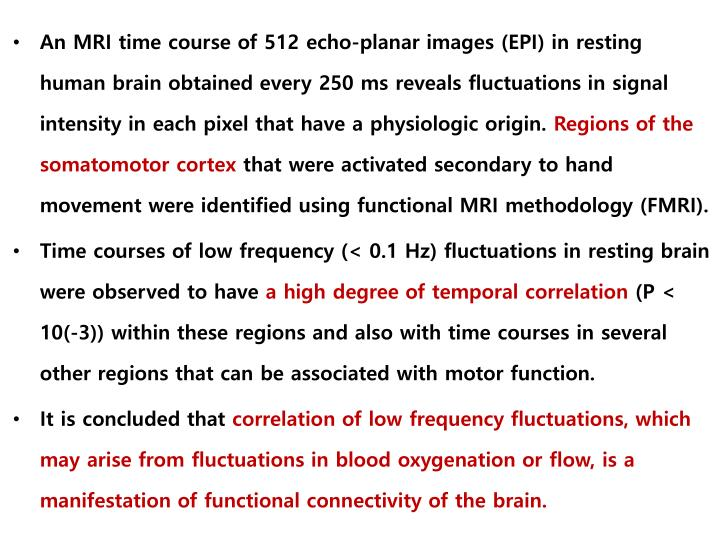 An MRI time course of 512 echo-planar images (EPI) in resting human brain obtained every 250 ms reveals fluctuations in signal intensity in each pixel that have a physiologic origin.