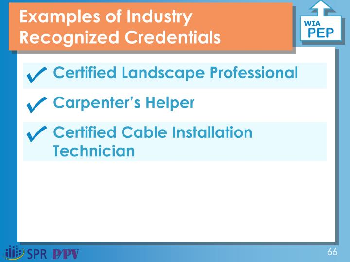 Examples of Industry Recognized Credentials