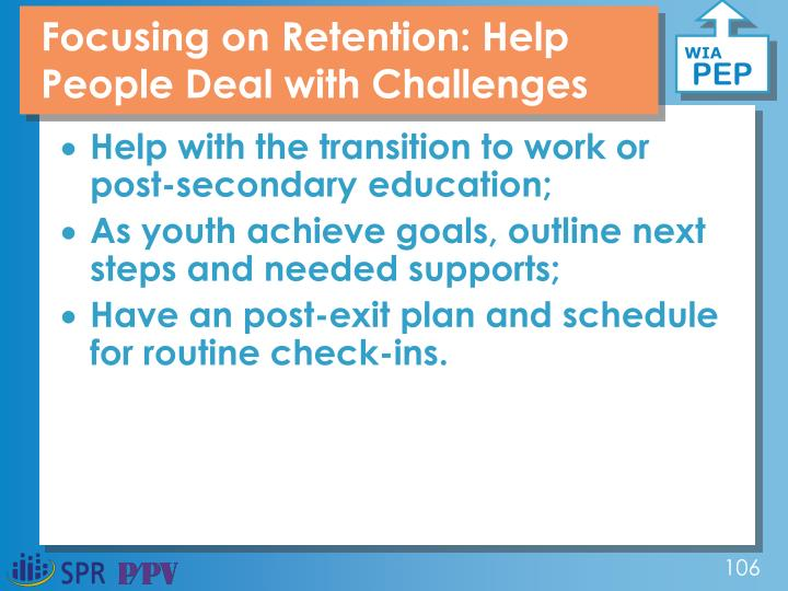 Focusing on Retention: Help People Deal with Challenges