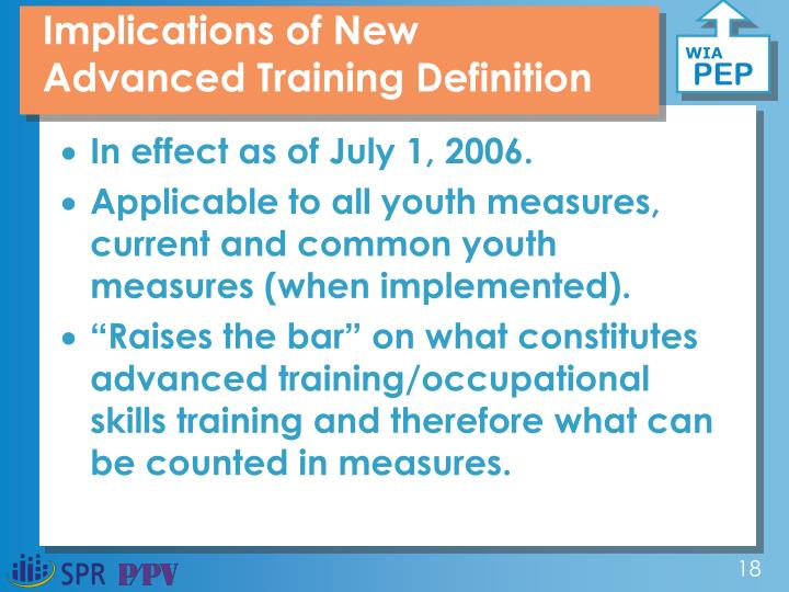 Implications of New Advanced Training Definition