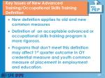 key issues of new advanced training occupational skills training definition