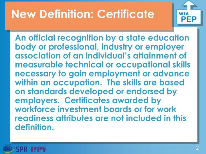 New Definition: Certificate
