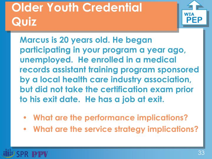 Older Youth Credential Quiz