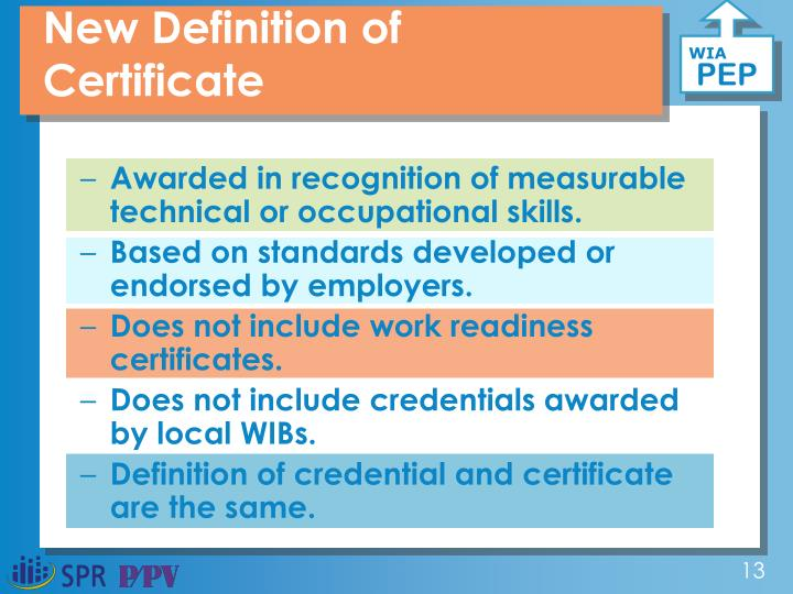 New Definition of Certificate