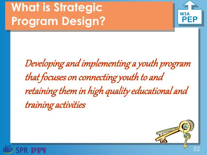 Developing and implementing a youth program that focuses on connecting youth to high quality educational and training activities.