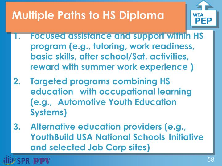 Multiple Paths to HS Diploma