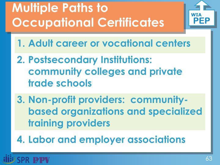 Multiple Paths to Occupational Certificates