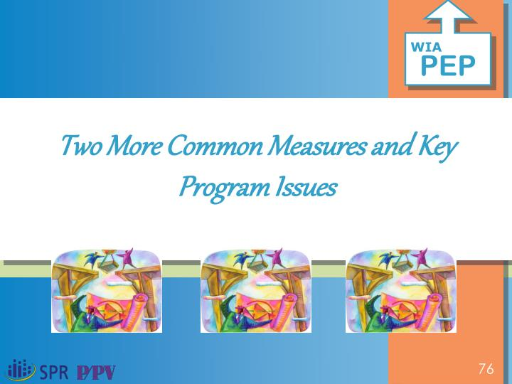 Two More Common Measures and Key Program Issues