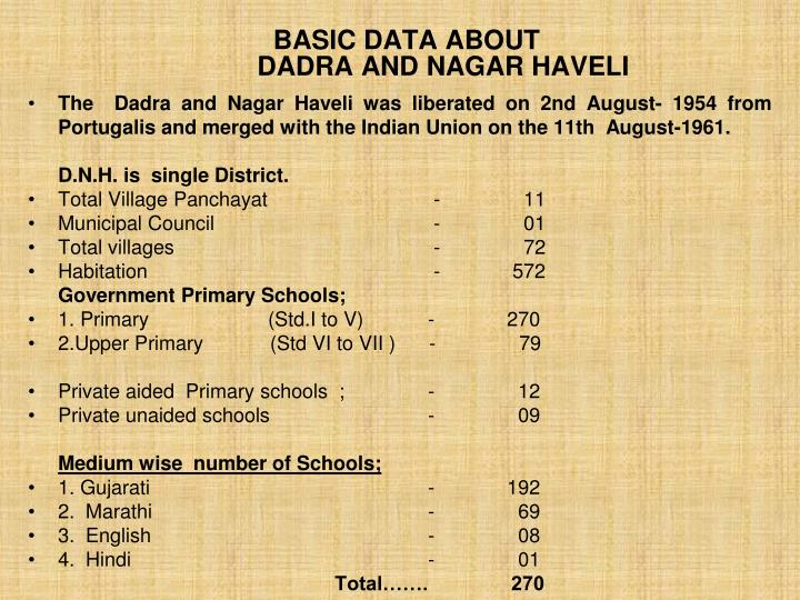 Basic data about dadra and nagar haveli
