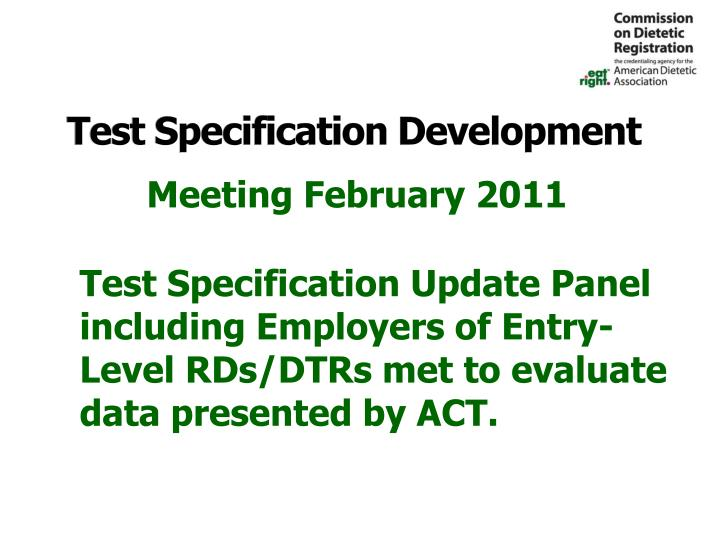 Test Specification Development
