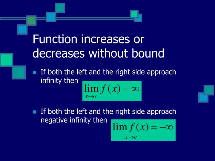 Function increases or decreases without bound