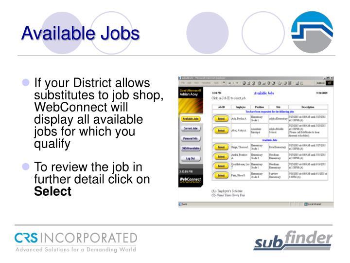 Available Jobs