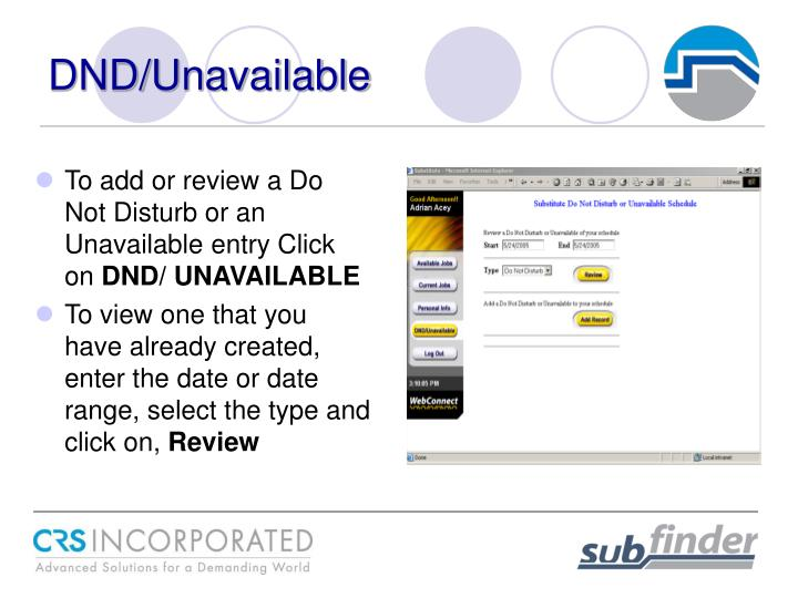 DND/Unavailable