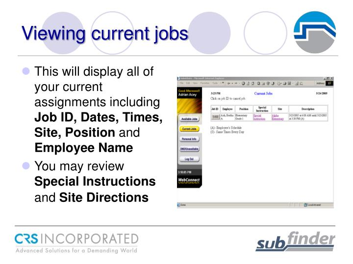 Viewing current jobs