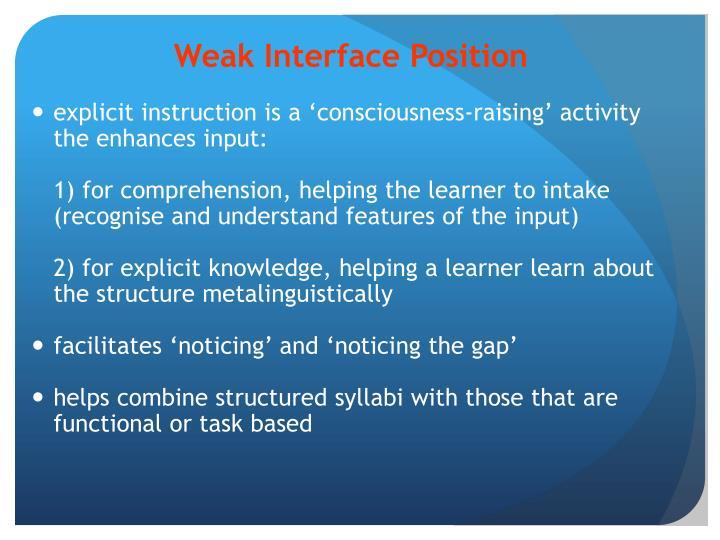 Weak Interface Position