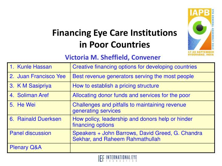 Financing Eye Care Institutions in Poor Countries