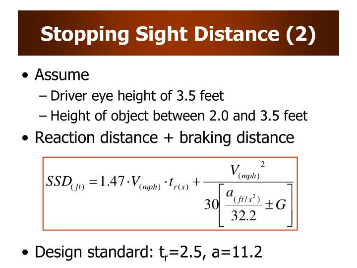 Stopping Sight Distance (2)