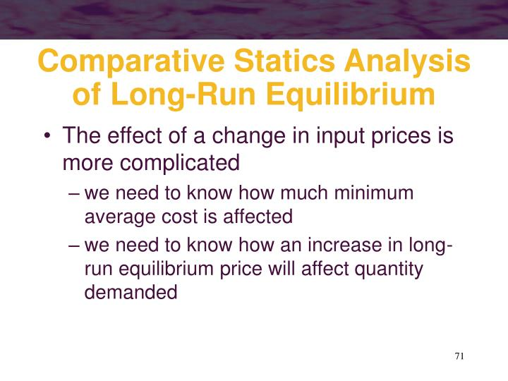Comparative Statics Analysis of Long-Run Equilibrium