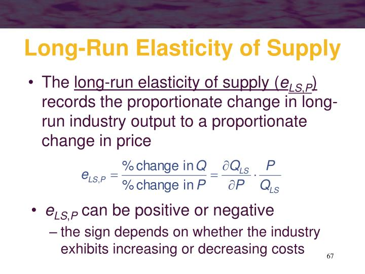 Long-Run Elasticity of Supply