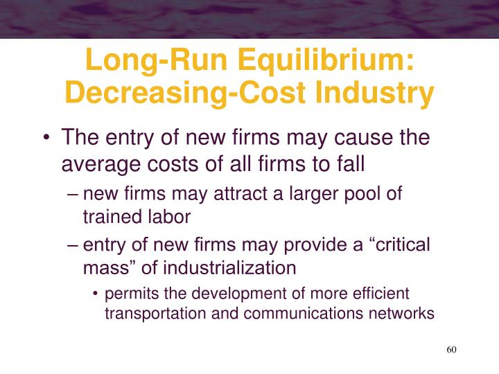 Long-Run Equilibrium: Decreasing-Cost Industry