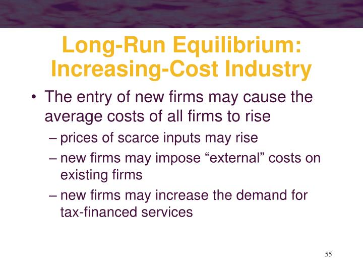 Long-Run Equilibrium: Increasing-Cost Industry