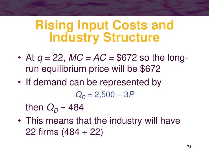 Rising Input Costs and Industry Structure