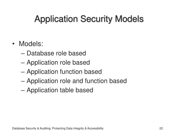 Application Security Models