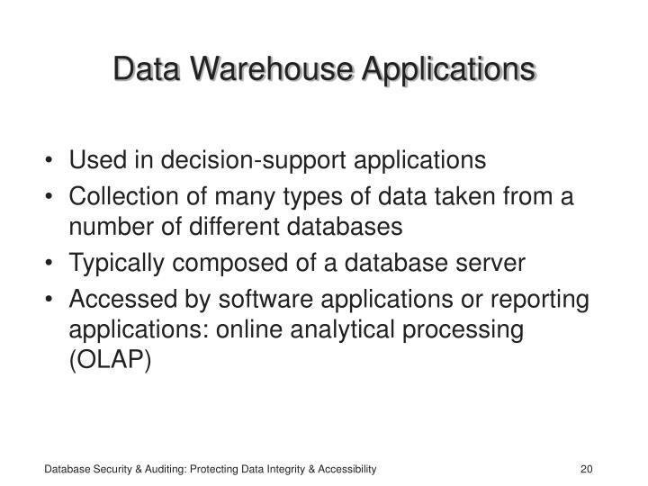 Data Warehouse Applications