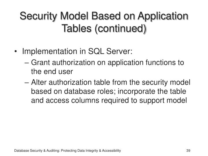 Security Model Based on Application Tables (continued)