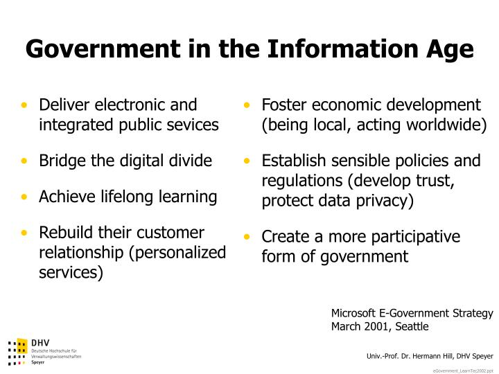 Deliver electronic and integrated public sevices