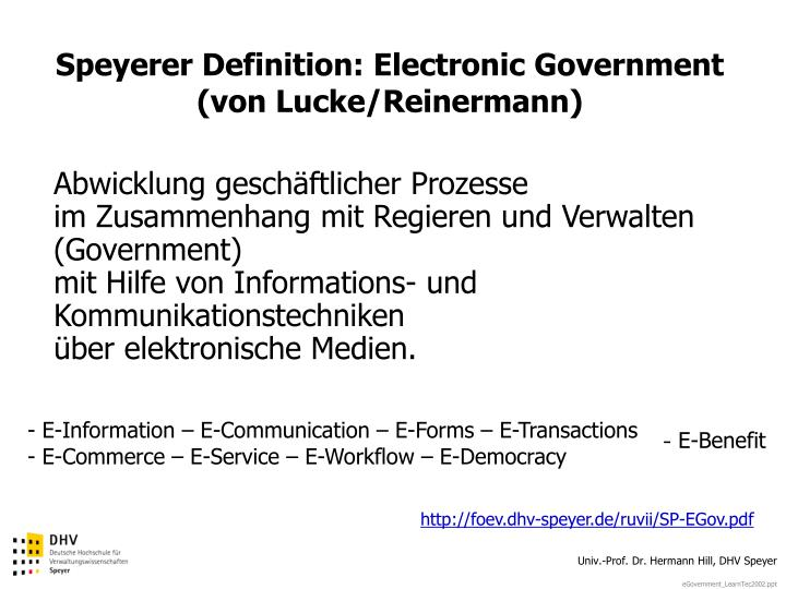 Speyerer Definition: Electronic Government