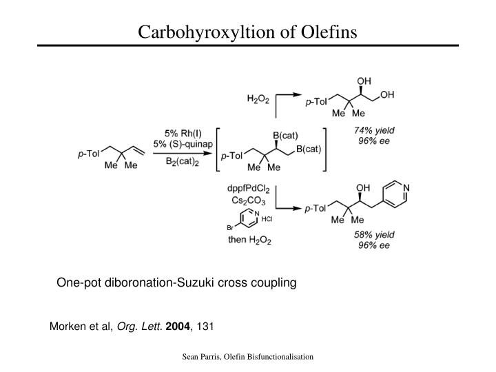 Carbohyroxyltion of Olefins