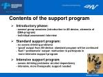 contents of the support program