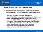 reduction of dui casualties