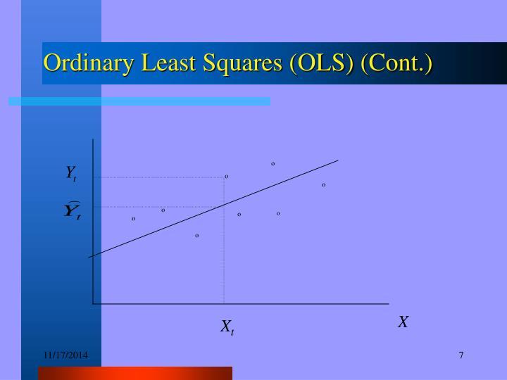 Ordinary Least Squares (OLS) (Cont.)