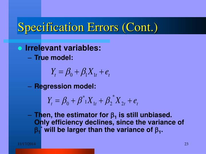 Specification Errors (Cont.)