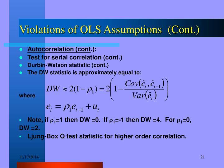 Violations of OLS Assumptions  (Cont.)