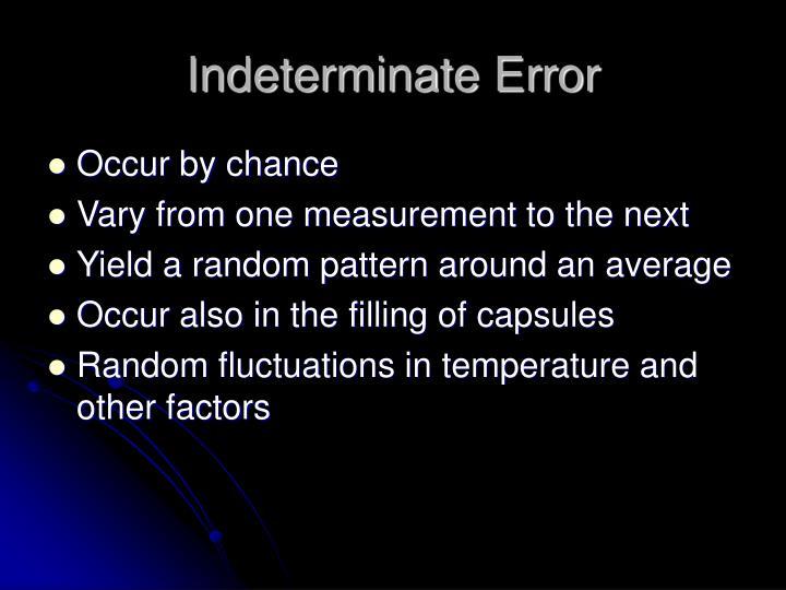 Indeterminate Error