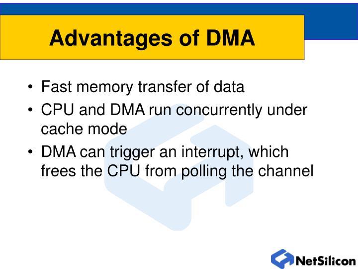Advantages of DMA