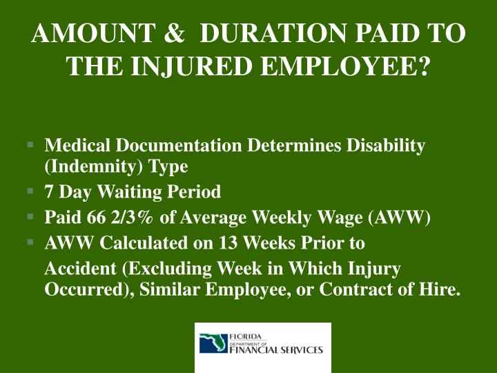 AMOUNT &  DURATION PAID TO THE INJURED EMPLOYEE?