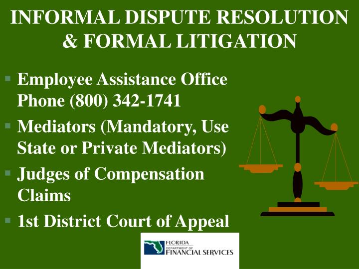 INFORMAL DISPUTE RESOLUTION & FORMAL LITIGATION
