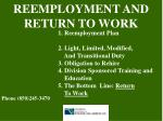 reemployment and return to work